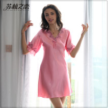 Nightdress Other / other Pink, light pink, skin pink, light apricot 160(M),165(L),170(XL),175(XXL) Simplicity Short sleeve Living clothes longuette summer youth Polyester (polyester) Embroidery polyester fiber SH6007 220g