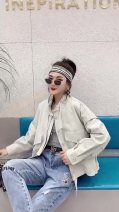 short coat Spring 2021 M (80-105), l (105-115), XL (115-125), XXL (125-135), XXXL (135-145), please contact customer service for inquiry White, light gray, off white Long sleeves UltraShort  Thin money singleton  street routine stand collar Solid color 18-24 years old