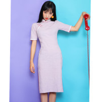 cheongsam Summer of 2019 S M L XL XXL 3XL Short sleeve long cheongsam grace High slit daily Oblique lapel Solid color 18-25 years old other Other 100% Pure e-commerce (online only)