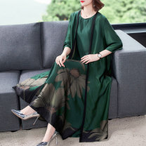 Dress Summer 2020 Red, green XL,2XL,3XL,4XL,5XL longuette Two piece set three quarter sleeve commute Crew neck Loose waist Decor other other routine Others 35-39 years old Other / other Retro printing More than 95% other