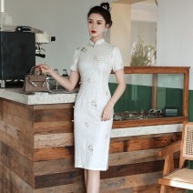 cheongsam Spring 2021 S M L XL XXL fawn Short sleeve Short cheongsam Retro Low slit daily Oblique lapel Decor 25-35 years old Piping Yijiahong polyester fiber Polyester 100% Pure e-commerce (online only)