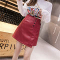 skirt Autumn of 2019 M,L,XL,2XL,3XL,4XL Red, black Short skirt commute High waist A-line skirt Solid color Type A DM00110 71% (inclusive) - 80% (inclusive) other Other / other PU Button, asymmetric Korean version