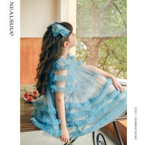 Dress The lake is blue and olive green female Nilska 110cm 120cm 130cm 140cm 150cm 160cm Other 100% summer princess Short sleeve Solid color Netting Cake skirt 21LYQ8098 Class B Summer 2021 Chinese Mainland Zhejiang Province Hangzhou