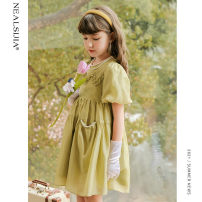 Dress Olive green mustard green collection and purchase, priority delivery female Nilska 110cm 120cm 130cm 140cm 150cm 160cm Other 100% summer Korean version Short sleeve Solid color other A-line skirt 21LYQ9060 Class B Summer 2021 Chinese Mainland Zhejiang Province Hangzhou