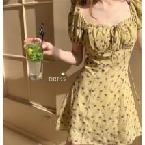 Dress Summer 2021 Yellow, random gift S,M,L,XL,2XL Short skirt singleton  Short sleeve commute other High waist Decor Socket A-line skirt puff sleeve Others 18-24 years old Type A Other / other other polyester fiber