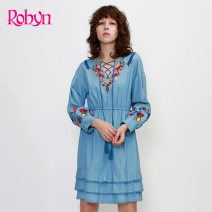 Dress Summer of 2018 50 blue S M L Middle-skirt singleton  Long sleeves Sweet other Elastic waist Solid color Socket other routine Others 25-29 years old Type H Robin hung / Hong yingni Embroidery 8R605HD More than 95% other cotton Cotton 100%
