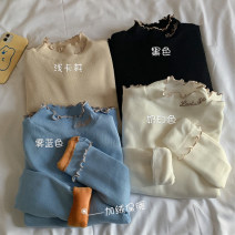 Wool knitwear Autumn 2020 Average size Black, apricot, cream, haze blue Long sleeves singleton  Socket other 30% and below Regular thickening commute Self cultivation Half height crew neck routine Solid color Socket Korean version 18-24 years old fungus