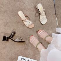 Sandals 35,36,37,38,39,40 Black, off white, pink, green PU In the same boat Barefoot Thick heel Middle heel (3-5cm) Summer 2020 Trochanter Korean version Solid color Adhesive shoes Youth (18-40 years old) rubber daily Back space Rhinestones, thick heels, Roman style Low Gang Hollow PU Microfiber skin