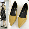 Low top shoes 35,36,37,38,39,40 In the same boat Black, yellow, apricot Sharp point PU Square heel Low heel (1-3cm) Shallow mouth PU Spring 2021 Trochanter Korean version Adhesive shoes Youth (18-40 years old) Solid color rubber Single shoes Shallow mouth PU daily Face dressing