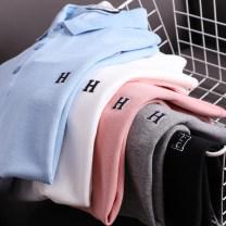 Polo shirt Huasachi Fashion City routine 21bhb-tzxs92107 light blue, 21bhb-tzxs92107 off white, 21bhb-tzxs92107 gray pink, 21bhb-tzxs92107 flower gray, 21bhb-tzxs92107 black M,L,XL,2XL,3XL standard business affairs summer Short sleeve Business Casual routine youth Cotton 100% 2021 Solid color cotton