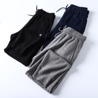 Casual pants Huasachi Youth fashion 21bhb-dll5007-3 black, 21bhb-dll5007-3 gray, 21bhb-dll5007-3 Navy M,L,XL,2XL,3XL routine Ninth pants Other leisure Straight cylinder High shot spring youth tide 2021 middle-waisted Little feet Sports pants Solid color Terry cloth polyester fiber