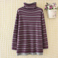 Women's large Autumn of 2019 Purple black coffee Large 2XL large 3XL large 4XL Knitwear / cardigan singleton  commute easy moderate Socket Long sleeves stripe Korean version High collar Medium length cotton routine Janujiao 35-39 years old Cotton 86% polyester 14%