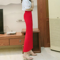 skirt Spring 2020 Xs, s, m, l, XL, 2XL, custom contact customer service Black, red, black 80cm, red 80cm, red front split, black front split, black side split, red side split longuette commute High waist skirt Solid color Type H 25-29 years old 71% (inclusive) - 80% (inclusive) brocade cotton