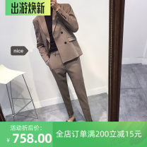 man 's suit Gray (coat + pants), black (coat + pants), dark green (coat + pants), khaki (coat + pants) ITbuy+ Fashion City routine S,M,L,XL,2XL,3XL,4XL Self cultivation Multi grain double breasted Other leisure Back middle slit youth Long sleeves autumn routine Business Casual Casual clothes 2020