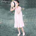 Dress Pink female Jeux d'enfants 95cm(3A),105cm(4A),110cm(5A),120cm(6A),130cm(8A),140cm(10A),150cm(12A) Cotton 100% summer Europe and America Skirt / vest Solid color cotton A-line skirt Class B 2, 3, 4, 5, 6, 7, 8, 9, 10, 11, 12, 13, 14 years old