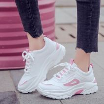 Low top shoes 35,36,37,38,39,40 Other / other Pink, black, red, atmospheric black Round head PU Flat bottom Low heel (1-3cm) Deep mouth cloth Autumn 2020 Frenulum Korean version Injection pressure shoes Youth (18-40 years old), children (under 18 years old) Color matching rubber Single shoes cloth