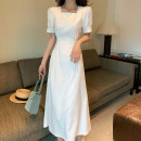 Dress Summer 2020 white S,M,L,XL Mid length dress singleton  Short sleeve commute square neck High waist Solid color A-line skirt puff sleeve Others 25-29 years old Type A Retro 31% (inclusive) - 50% (inclusive) Chiffon polyester fiber