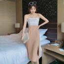 Dress Summer 2020 Khaki, white S,M,L,XL Mid length dress singleton  Sleeveless commute One word collar Solid color zipper camisole Type H Retro Zipper, mesh