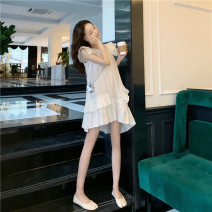 Dress Summer 2020 White, black Average size Short skirt singleton  Sleeveless commute Crew neck Loose waist Solid color Ruffle Skirt Lotus leaf sleeve Others Retro