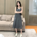 Dress Autumn 2020 Black, gray S,M,L,XL Mid length dress singleton  Sleeveless commute V-neck middle-waisted Solid color Socket A-line skirt Type H Korean version