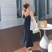 Dress Summer 2020 Black dress, white sun shirt S,M,L,XL Mid length dress singleton  Sleeveless commute V-neck Solid color camisole Retro backless