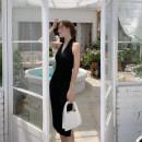 Dress Autumn 2020 black S,M,L,XL Mid length dress singleton  Sleeveless commute V-neck Solid color Others Type A Korean version backless cotton