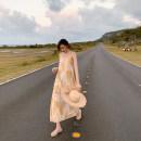 Dress Summer 2020 Picture color S,M,L,XL longuette singleton  Sleeveless commute V-neck Loose waist Socket One pace skirt camisole Korean version printing