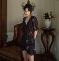 Dress Autumn 2020 black S,M,L,XL Short skirt singleton  Sweet V-neck High waist Decor Others 18-24 years old