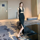 Dress Winter 2020 Black - send cream S,M,L longuette singleton  Sleeveless commute One word collar High waist Solid color 18-24 years old backless