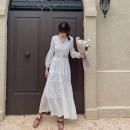 Dress Autumn 2020 white S,M,L,XL longuette singleton  Long sleeves Sweet V-neck Solid color zipper Big swing bishop sleeve zipper Bohemia