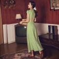Dress Autumn of 2019 green S,M,L,XL Mid length dress singleton  Short sleeve Sweet Crew neck High waist Decor zipper routine Others Open back, button, zipper Bohemia