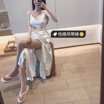 Dress Summer of 2019 White, black, silver grey S,M,L longuette Sleeveless Sweet V-neck High waist Solid color camisole 18-24 years old princess