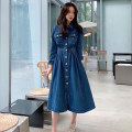 Dress Autumn 2020 blue S,M,L,XL longuette singleton  Long sleeves commute Polo collar middle-waisted Solid color Single breasted Big swing other 18-24 years old Korean version Pockets, panels, buttons