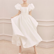 Wedding dress Spring 2020 milky white S ml XL bandage one size fits all Skirt hem 18-25 years old Sleeved shawl Elegant appreciation Same model in shopping mall (sold online and offline)