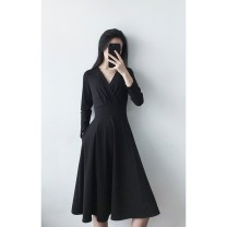 Dress Autumn 2020 Black, add shopping cart collection, buy and give small gifts S,M,L,XL,2XL Mid length dress singleton  Long sleeves commute V-neck High waist Solid color zipper A-line skirt routine Others Type A Retro Pocket, button, zipper