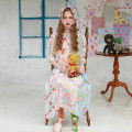 Dress Summer of 2019 Graphic color - print stitching Chiffon Dress Average size Mid length dress Two piece set elbow sleeve commute Lotus leaf collar Loose waist Hand painted A button other bishop sleeve Others Type H Unlogical Poem Retro Ruffles, pleats, pockets, buttons, prints LIOxUP2019SS1106