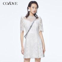 Dress Summer 2020 Benbai S M L Short skirt elbow sleeve Half high collar High waist zipper A-line skirt routine 25-29 years old Type A Color / calaver Lace 802U113 51% (inclusive) - 70% (inclusive) other cotton Cotton 58.7% polyamide fiber (nylon) 41.3%