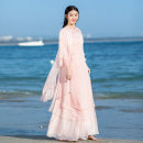 Dress Summer 2021 White (pink), complete set S,M,L Mid length dress Two piece set three quarter sleeve commute Crew neck High waist Solid color Single breasted A-line skirt routine Others Type A Retro Stitching, beads, buttons QF20190204 31% (inclusive) - 50% (inclusive) Chiffon
