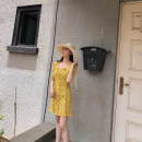 Dress Summer of 2019 Yellow, pink XS,S,M Middle-skirt Short sleeve Sweet routine brocade cotton