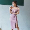 Dress Summer 2020 Picture color S,M,L,XL Mid length dress singleton  Sleeveless commute V-neck High waist Solid color zipper Pencil skirt routine 25-29 years old Type X Other / other Korean version Lotus leaf edge