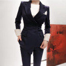 Professional pants suit Blue and white stripes S,M,L,XL Winter of 2019 loose coat Long sleeves Other / other 18-25 years old