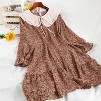 Dress Winter 2020 Apricot 2, blue 2, black 2, pink 2 Average size longuette singleton  Long sleeves commute Doll Collar Loose waist Broken flowers Socket A-line skirt routine Others 18-24 years old Type A Korean version printing 51% (inclusive) - 70% (inclusive) Chiffon other