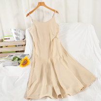 Dress Summer 2021 Black, apricot Average size longuette singleton  Sleeveless commute V-neck High waist Solid color Socket A-line skirt routine camisole 18-24 years old Type A Korean version 51% (inclusive) - 70% (inclusive) other other