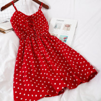 Dress Summer 2020 Red, white, black, navy Average size Short skirt singleton  Sleeveless commute High waist Dot Socket other other camisole 18-24 years old Type A Other / other Korean version 51% (inclusive) - 70% (inclusive) Chiffon