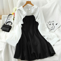 Dress Autumn 2020 black S,M,L Short skirt Two piece set Long sleeves commute square neck High waist Solid color Socket A-line skirt routine camisole 18-24 years old Type A Korean version 51% (inclusive) - 70% (inclusive) other