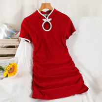 Dress Summer 2021 Black, red, pink Average size Short skirt singleton  Short sleeve commute stand collar High waist other Socket A-line skirt routine Others 18-24 years old Type A Korean version 51% (inclusive) - 70% (inclusive) other cotton