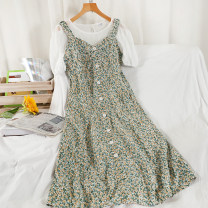 Dress Summer 2021 Blue, green, pink M, L longuette Two piece set Short sleeve commute Crew neck High waist Broken flowers Socket A-line skirt routine camisole 18-24 years old Type A Korean version printing 51% (inclusive) - 70% (inclusive) Chiffon other
