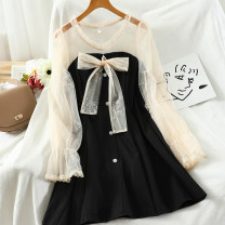 Dress Autumn 2020 Black, apricot M, L Short skirt singleton  Long sleeves commute Crew neck High waist Solid color Socket A-line skirt pagoda sleeve 18-24 years old Type A Korean version Splicing 51% (inclusive) - 70% (inclusive)