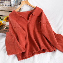 Wool knitwear Winter 2020 Average size Blue, purple, apricot, white, brick red Long sleeves singleton  Socket acrylic fibres 51% (inclusive) - 70% (inclusive) Regular routine commute Straight cylinder V-neck routine Solid color Socket Korean version 18-24 years old Splicing