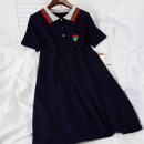 Dress Summer 2020 Tibetan blue Average size Short skirt singleton  Short sleeve commute Polo collar High waist Socket other other Others 18-24 years old Type A Other / other Korean version 51% (inclusive) - 70% (inclusive) knitting acrylic fibres